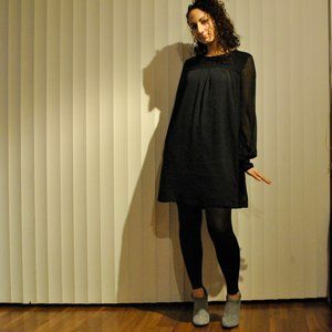 H&M Shift Black Dress with Sheer Sleeves
